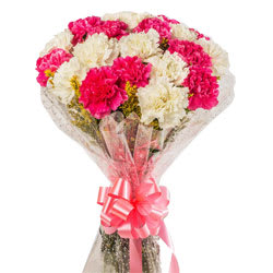 Delicate Assemble of White N Pink Carnations