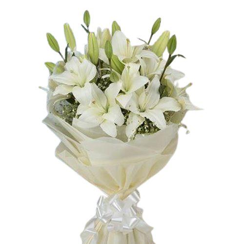 Sensational Pure Essence White Lilies Bunch