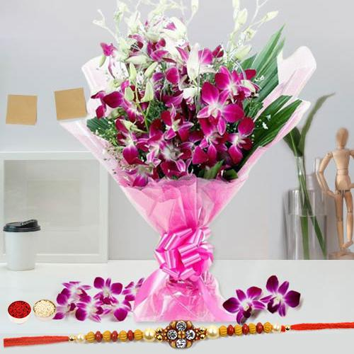 Vibrant Blooms of Orchid Stems Bouquet With Rakhi