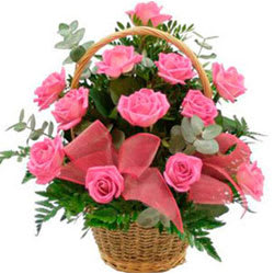 Elegant Heart 2 Heart Basket of Pink Roses