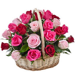 Charming Just for You 15 Pink N Red Roses Basket