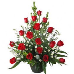 Mesmerizing 18 Red Coloured Roses in an Elegant Basket