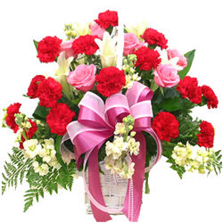 Exotic Red Carnations N Pink Roses