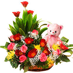 Dreamy Sweet Emotions Roses Basket with Gerberas