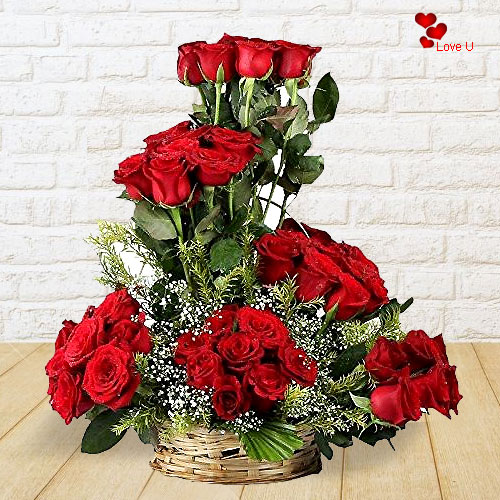Shop Red Roses Basket Arrangement Online