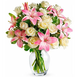 Breathtaking Present of Pink Lilies with White Roses in Glass Vase