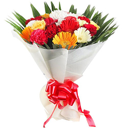 Captivating Gerberas, Roses N Carnations Bouquet