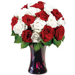 Designer Glass Vase Presentation of Red N White Roses