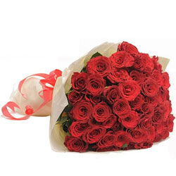 Flowering Selection of Red Color Roses artfully wrapped in Tissue