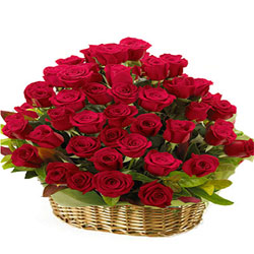 Delightful Presentation of Red Rose in a Basket