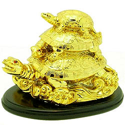 Golden Three Tier Feng Shui Tortoise