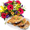 Mixed Flowers Bouquet with Anand Bhawan Milk Cake