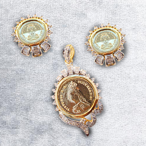 Outstanding Pendent N Earring Set Designed in Gold Coin