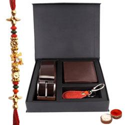 Elegant Gift Set of Wallet, Key Ring and Belt with Free Rakhi and Roli Tilak Chawal