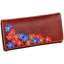 Blossom Themed Genuine Leather Wallet in Brown with Colorful Leather Flowers from Leather Talks