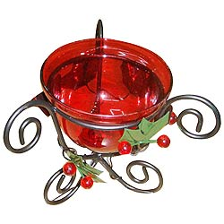 Shimmering Red Candle Stand Gift