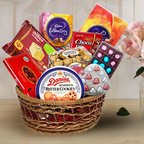 Delicious Chocolate Assortment Hamper Basket