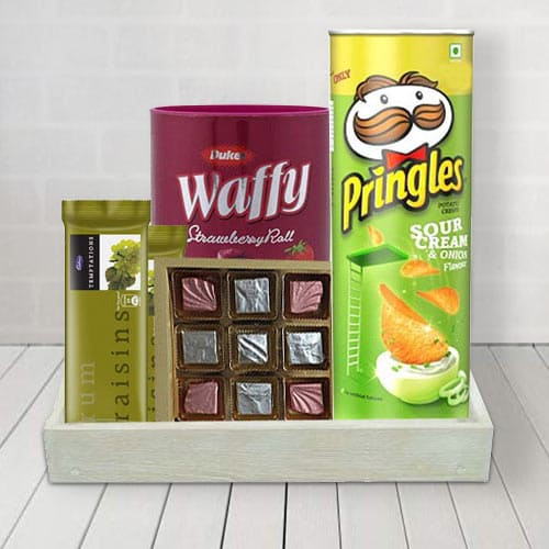 Gift Basket with Delicious Sweet and Salty Treats for him