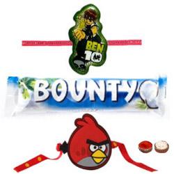 Remarkable Angry Bird Kid Rakhi, Ben10 Kid Rakhi With Bounty Chocolate