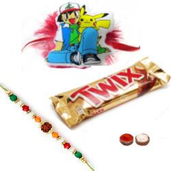 Beautiful Bhaiya Rakhi, Pokemon Rakhi And Twix Chocolate