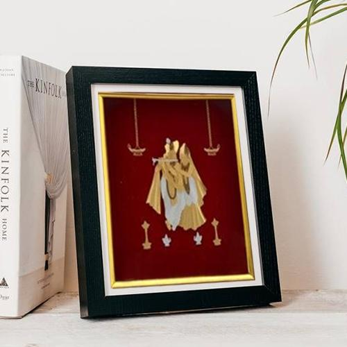 Elegant Photo of Radha Krishna in Gold Plated Frame
