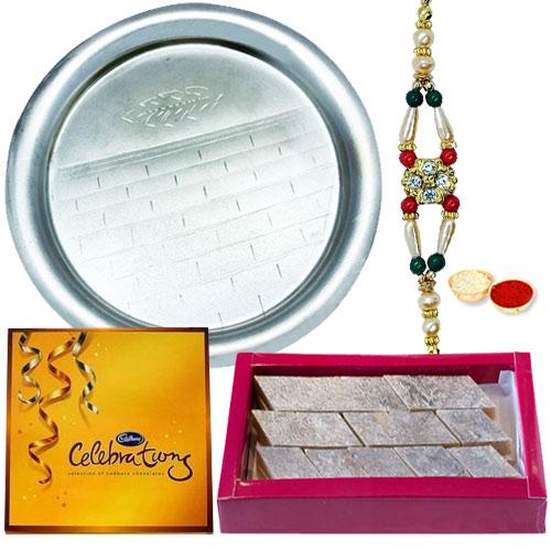 Puja Thali with Celebration Pack and Rakhi