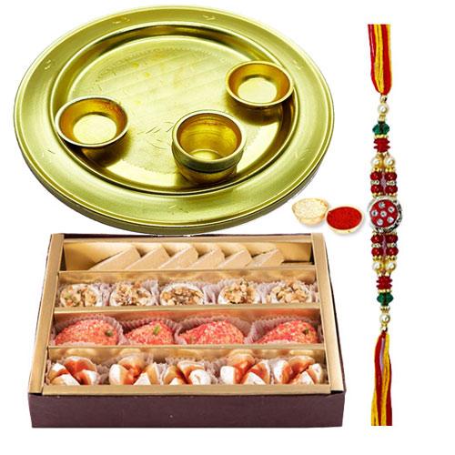 <font color=#FF0000>Haldiram</font>s Assorted Sweets N Silver Plated Rakhi Thali