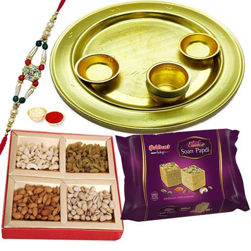 Graceful Rakhi with Sweet and Salty Thali