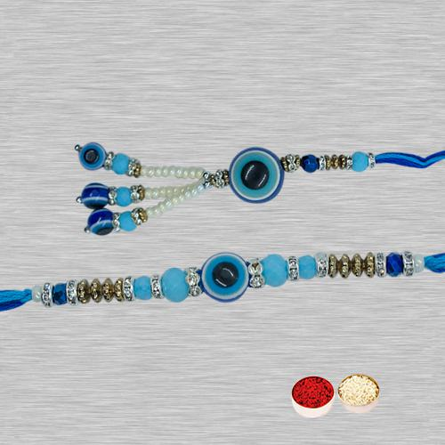 Feng Sui Patterned Evil�s Eye Rakhi Set for Bhaiya & Bhabhi