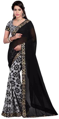 Comeliness�s Blossom Black Georgette Saree