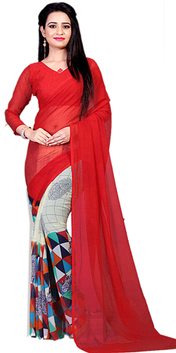 Attractive Red N White Designer Sari in Marble Chiffon Fabric