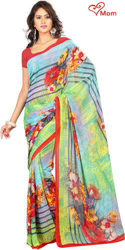 Tempting Yellow and Sky Blue Georgette Printed Saree