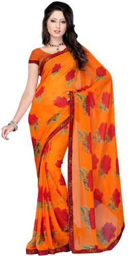 Dyed Dash Georgette Saree