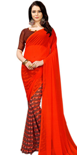 Dazzling Art Chiffon Designer Saree in Red