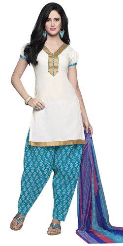 Visually Stunning Pure Cotton Printed Patiala Suit in White