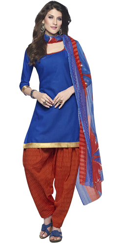 Elegantly Shaded in Blue and Red Cotton Printed Patiala Suit