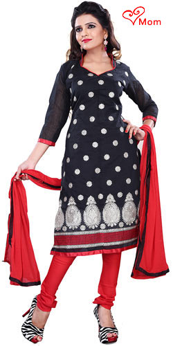 Remarkable Women�s Black Cotton Printed Salwar