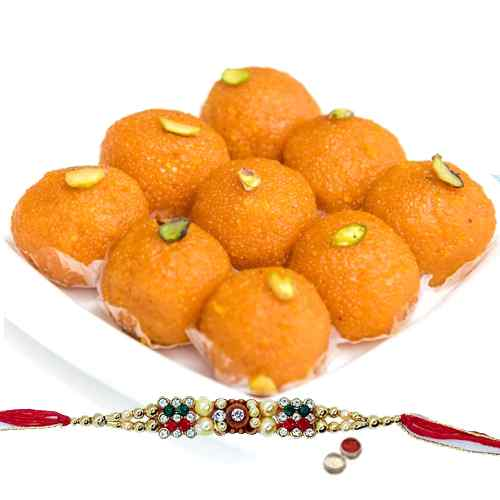 A Free Decorative Rakhi, Roli Tilak and Chawal with <font color=#FF0000>Haldiram</font> Pure Ghee Ladoo