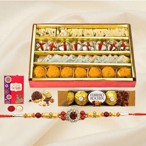 Haldiram Assorted Sweets with Ferrero Rocher Chocolates and a free Rakhi