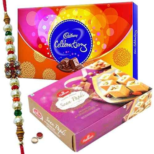 Free Rakhi, Roli Tilak and Chawal along with <font color=#FF0000>Haldiram</font> Soan Papri and Celebration Chocolates