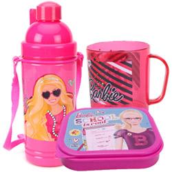 Attractive School Time Barbie Tiffin Set