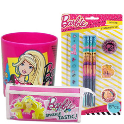 Fancy Barbie Stationery Set, Pencil Pouch and Pink Mug Hamper for Kids