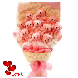 Beautifully-Arranged Pink Teddy Bouquet for Teddy Day