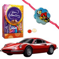 Bburagos Entertaining Agility Ferrari Model Car and Kids Rakhi, Cadbury Celebration Mini with Free Roli Tilak and Chawal