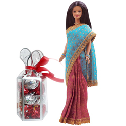 Pretty Gift of Barbie in Indian Dress with Homemade Chocolates Pack