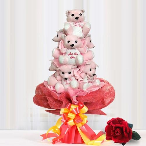 Pretty Valentine Bouquet of Teddy Bears