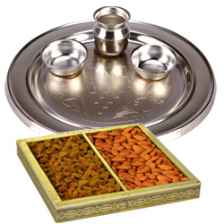 Silver Plated Thali with Dry Fruits