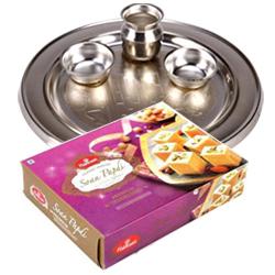 Soan Papdi  & Silver Plated Thali