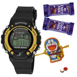Sporty Sonata Watch for Smart Kids with Free 1 Kids Rakhi with Chocolates and Roli Tilak Chawal