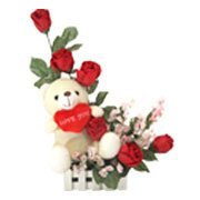 Charming Red Roses with a Teddy and Heart with Bountiful Joys